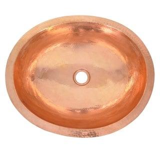 """Classic Polished Copper Undermount Bathroom Sink - 19"""" x 16"""" x 5.5"""""""