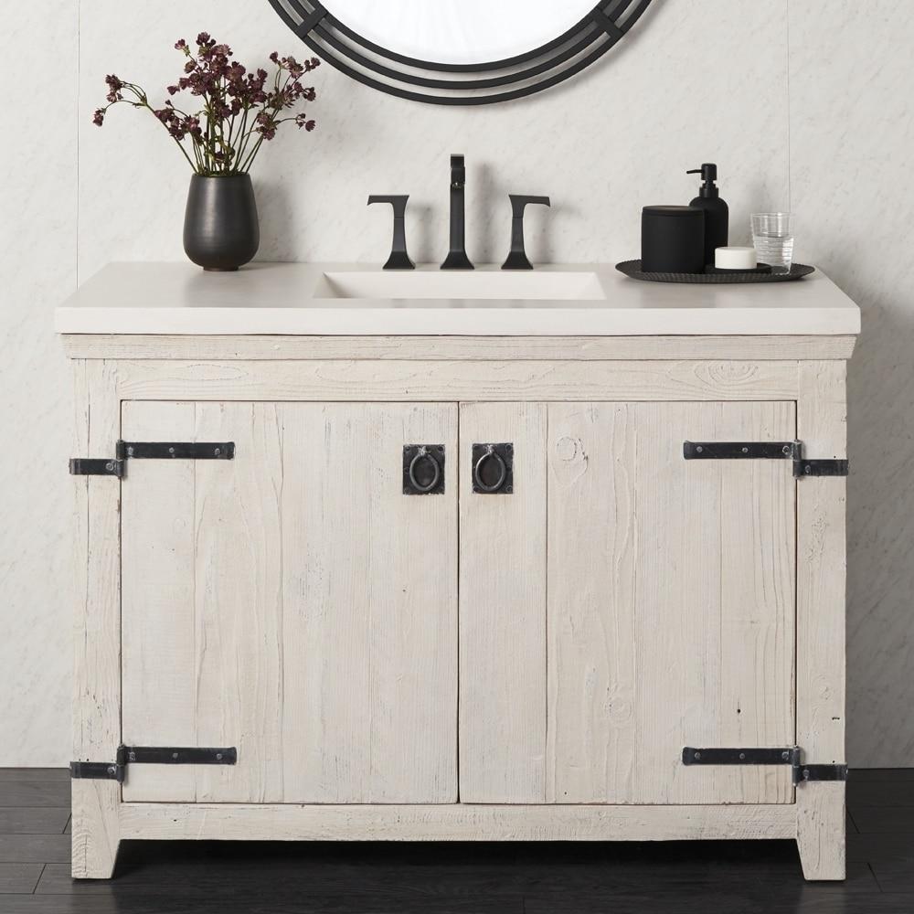 sale retailer 4f571 079d8 Americana Whitewash 48-inch Reclaimed Wood Bathroom Vanity (Base Only)