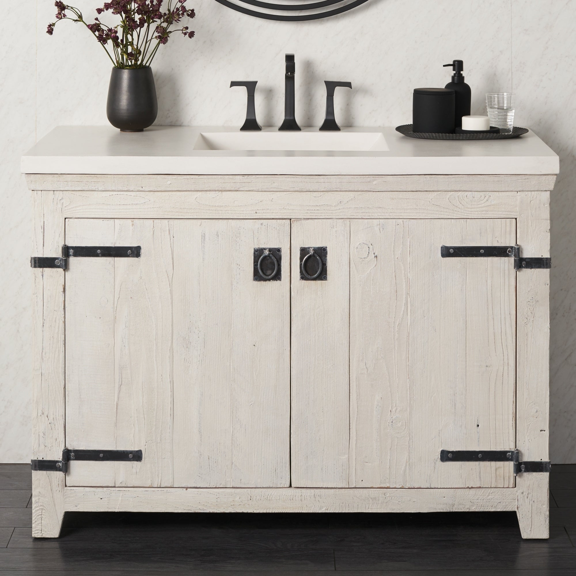 Americana Whitewash 48 Inch Reclaimed Wood Bathroom Vanity Base Only Overstock 18235404