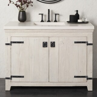 Americana Whitewash 48-inch Reclaimed Wood Bathroom Vanity