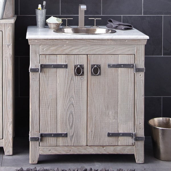 Americana Driftwood 30 Inch Reclaimed Wood Bathroom Vanity Base Only Overstock 18235415