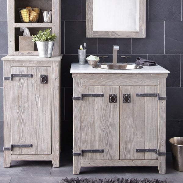 Americana Driftwood 30 Inch Reclaimed Wood Bathroom Vanity