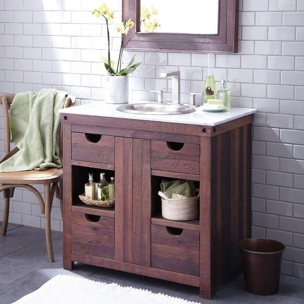 Shop Cabernet Weathered Oak Single Bowl Bathroom Vanity Free Shipping Today 18235441