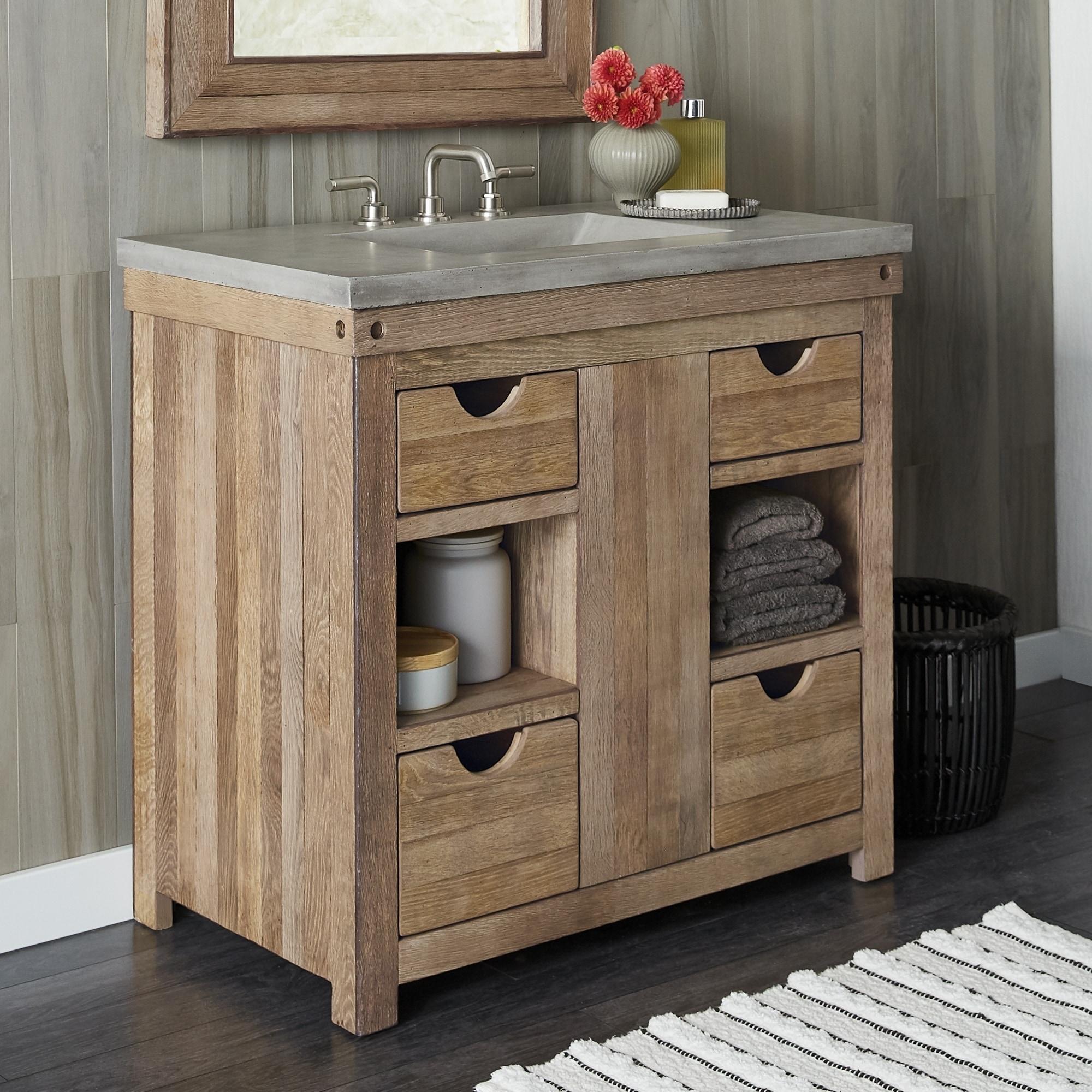 Chardonnay Weathered Oak Bathroom Vanity Base Only Overstock 18235445