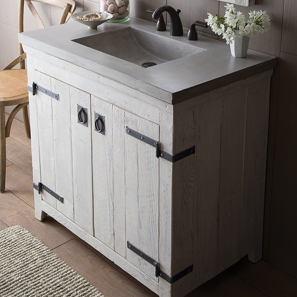 Americana Whitewash 36 Inch Reclaimed Wood Bathroom Vanity