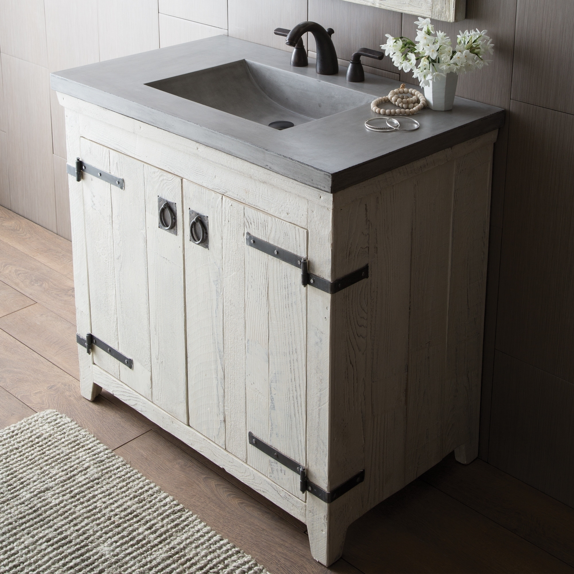 Shop Black Friday Deals On Americana Whitewash 36 Inch Reclaimed Wood Bathroom Vanity Base Only Overstock 18235454