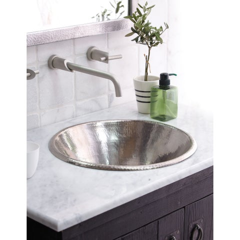 Cazo Brushed Nickel Drop-in/ Vessel Round Bathroom Sink - Brushed nickel