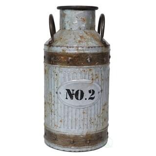 Galvanized Metal Rustic Milk Can, Medium