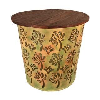 Outdoor Indoor Metal Drum Table Green Palm