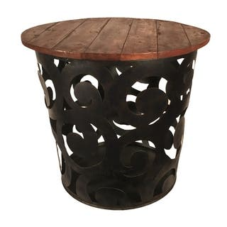 Outdoor Indoor Metal Drum Table Black Spiral|https://ak1.ostkcdn.com/images/products/18235592/P24375106.jpg?impolicy=medium