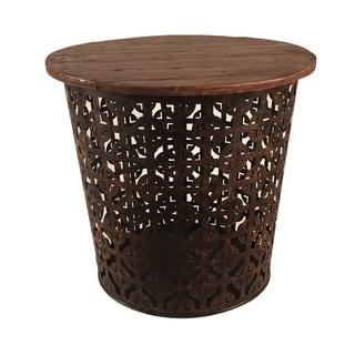 Outdoor Indoor Metal Drum Table Rustic Cross