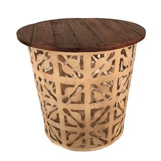 Outdoor Indoor Metal Drum Table Cream Flower