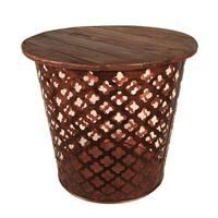 Outdoor Indoor Metal Drum Table Copper Lattuce