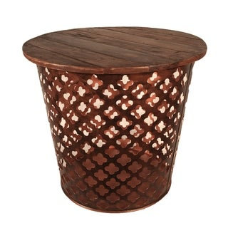 Outdoor Indoor Metal Drum Table Copper Lattuce