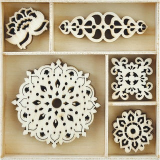 Themed Mini Wooden Flourishes 25/Pkg