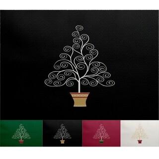 Filigree Tree Black Geometric Print Indoor/Outdoor Rug (3' x 5') (As Is Item)