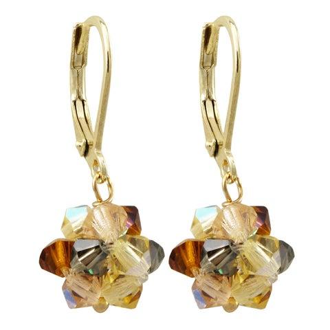 Luxiro Gold Finish Champagne 4mm Preciosa Beads Combination Dangling Earrings