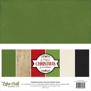 "Echo Park Double-Sided Solid Cardstock 12""X12"" 6/Pkg"