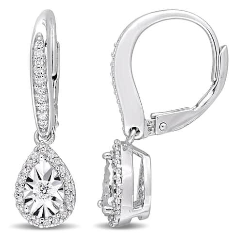 Miadora Sterling Silver 1/3ct TDW Diamond Teardrop Halo Leverback Dangle Earrings - White