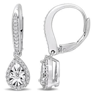 Miadora Sterling Silver 1/3ct TDW Diamond Teardrop Halo Leverback Dangle Earrings|https://ak1.ostkcdn.com/images/products/18235728/P24375212.jpg?impolicy=medium