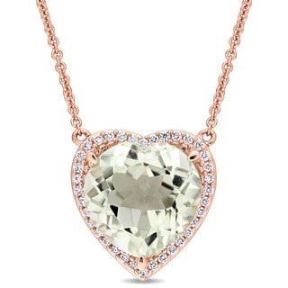 Miadora Signature Collection 14k Rose Gold Green Amethyst and 1/5ct TDW Diamond Heart Halo Station Necklace