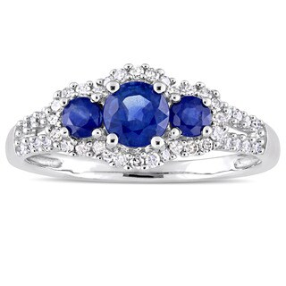 Miadora Signature Collection 10k White Gold Sapphire and 1/4ct TDW Diamond 3-Stone Halo Engagement R - Blue