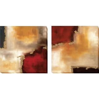 Laurie Maitland 'Crimson Accent I and II' 2-piece Gallery-wrapped Canvas Giclee Art Set
