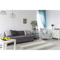 Jagged Grey / Off-White Reversible Cotton Chindi Rug (9'x12') - 9' x 12'