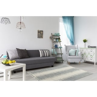Complex Collection Grey/Off-white Cotton Reversible Jagged Chindi Area Rug (8' x 10')