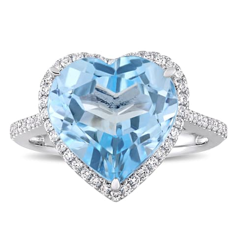 Miadora Signature Collection 14k White Gold Sky-Blue Topaz and 1/3ct TDW Diamond Heart Halo Cocktail Ring - Blue