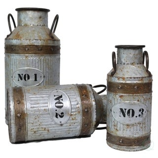 Galvanized Metal Rustic Milk Can, Set of 3