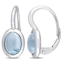 Miadora 10k White Gold Swiss Blue Topaz Oval Golden Halo Leverback Earrings