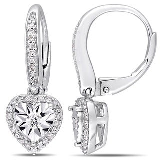 Miadora Sterling Silver 1/3ct TDW Diamond Heart Halo Leverback Earrings