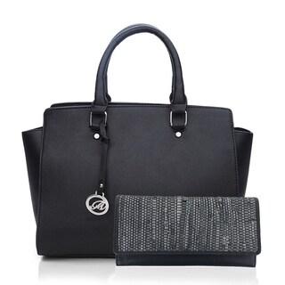 KM Women Vegan Faux Leather Satchel Shoulder Handbag with Wallet (Option: Gold)