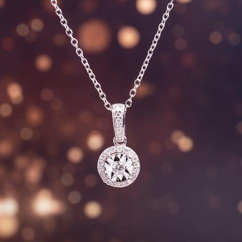 Miadora Sterling Silver 1/6ct TDW Diamond Circle Halo Dangle Necklace - White