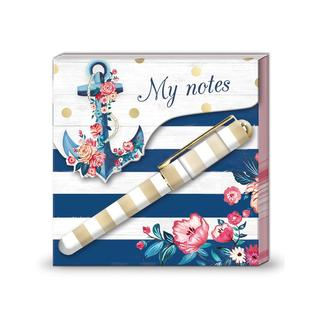 Lady Jayne Matchbook Pad W/Pen Seaside Blooms