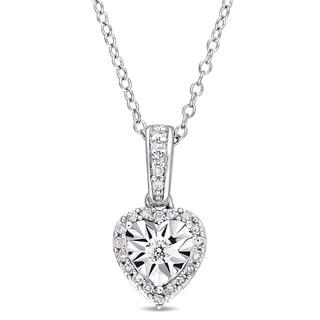 Miadora Sterling Silver 1/6ct TDW Diamond Heart Halo Dangle Necklace - White