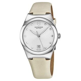 Swiss Army Women's V241631 'Victoria' Silver Dial Ivory Satin Strap Swiss Quartz Watch