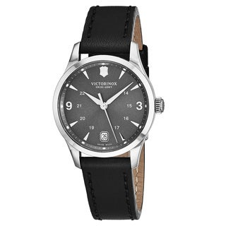 Swiss Army Women's V241542 'Alliance' Grey Dial Black Leather Strap GMT Swiss Quart Watch