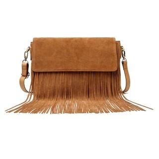 Allyson Suede Leather Fringe Crossbody Handbag - S