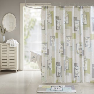 Madison Park Inspiration Aqua Cotton Sateen Printed Shower Curtain
