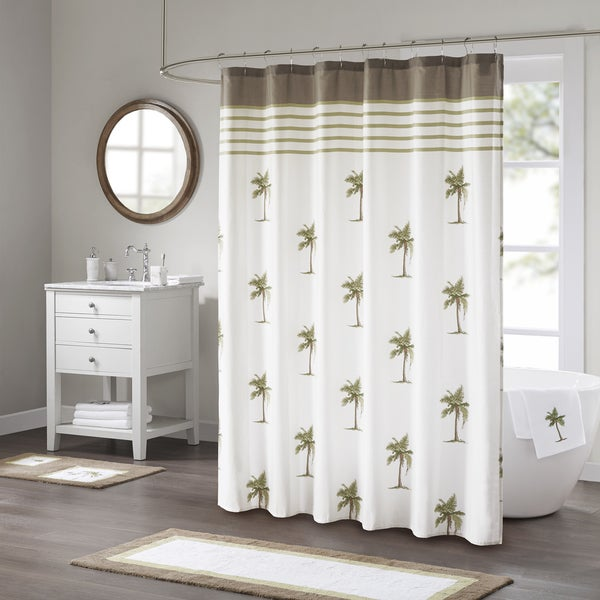 Madison Park Areca Green Cotton Sateen Printed Shower Curtain