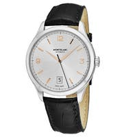 Mont Blanc Men's 112520 'Heritage Chronometrie' Silver Dial Black Leather Strap Swiss Automatic Watch