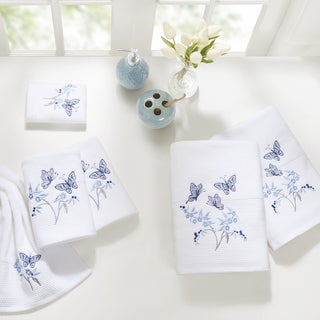 Madison Park Callia Blue Embroidered Cotton 6-piece Towel Set