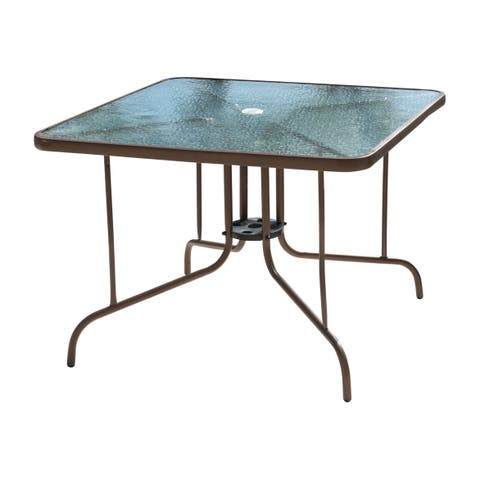 """Panama Jack Cafe 40"""" Square Dining Table with glass"""