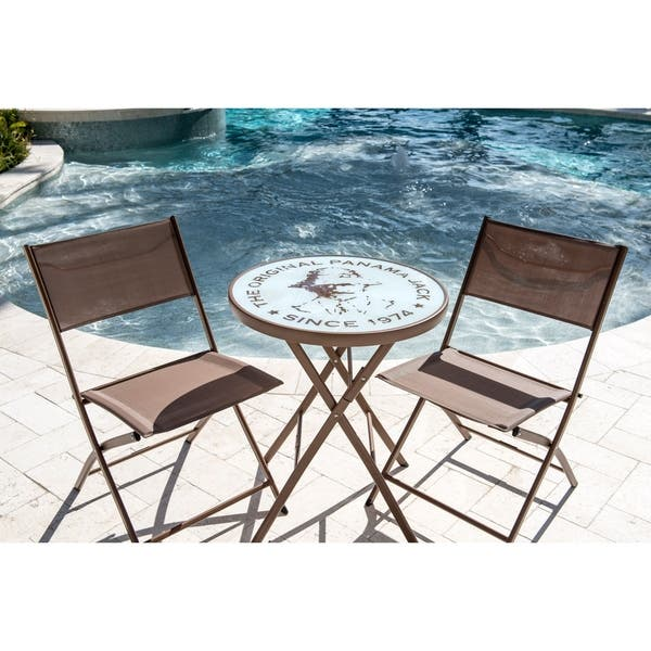 Super Shop Panama Jack Cafe 3 Pc Folding Sling Bistro Set Free Bralicious Painted Fabric Chair Ideas Braliciousco