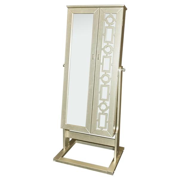 Powell Jennifre Silvertone Wood Cheval Mirror