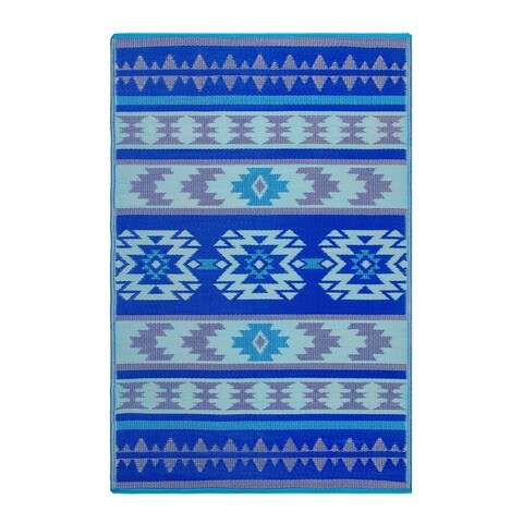 Fab Habitat Indoor/Outdoor Recycled Plastic Rug - Cusco - Blue (5' x 8')