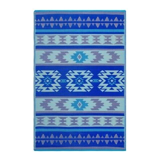 Fab Habitat Indoor/Outdoor Recycled Plastic Rug - Cusco - Blue (6' x 9')