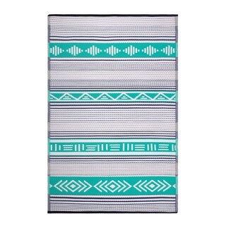 Fab Habitat Indoor/Outdoor Recycled Plastic Rug - Ibiza - Green Multi (6' x 9')